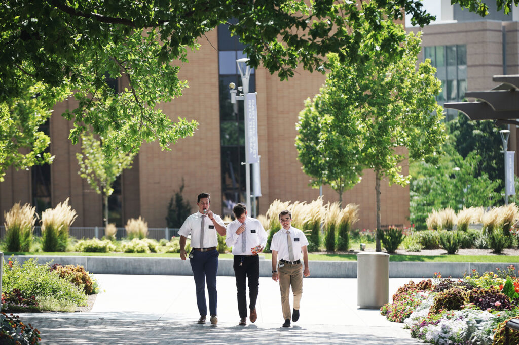 Missionaries walk at the Missionary Training Center in Provo on Wednesday Aug 25, 2021.