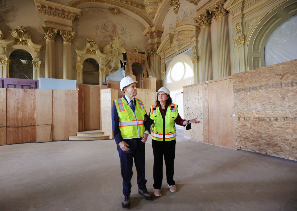 President Russell M. Nelson of The Church of Jesus Christ of Latter-day Saints tours the Salt Lake Utah Temple in Salt Lake City on Saturday, May 22, 2021.