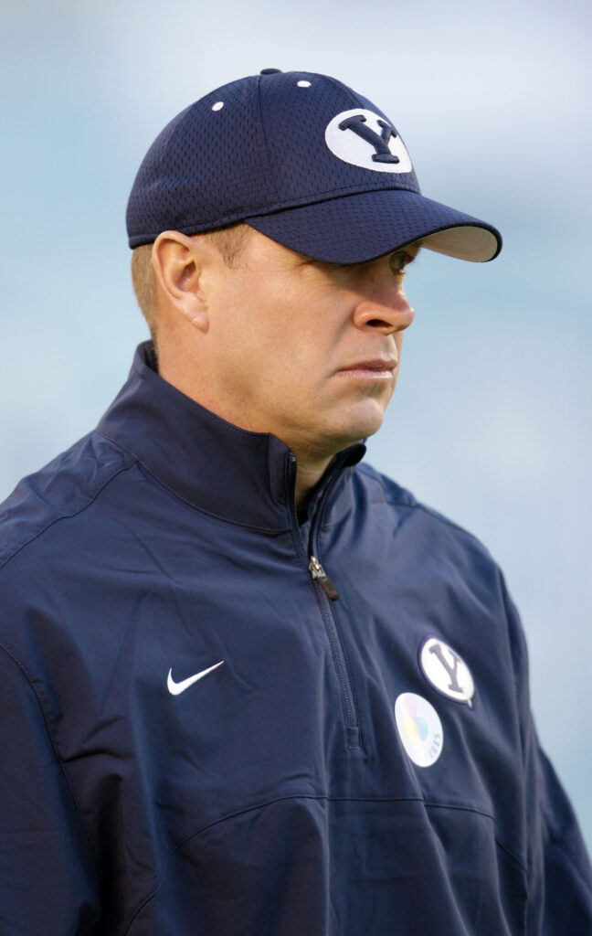 Brigham Young Cougars head coach Bronco Mendenhall watches warm ups prior to the Poinsettia Bowl in San Diego Thursday, Dec. 20, 2012.