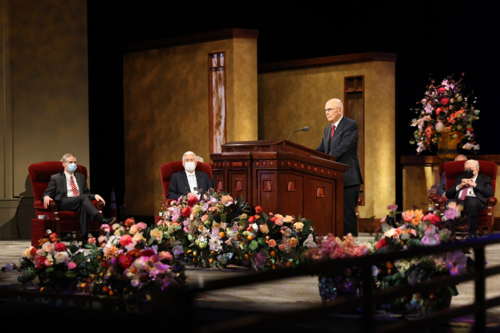 President Dallin H. Oaks, first counselor in the First Presidency, conducts the priesthood session of the 191st Annual General Conference of The Church of Jesus Christ of Latter-day Saints on April 3, 2021.