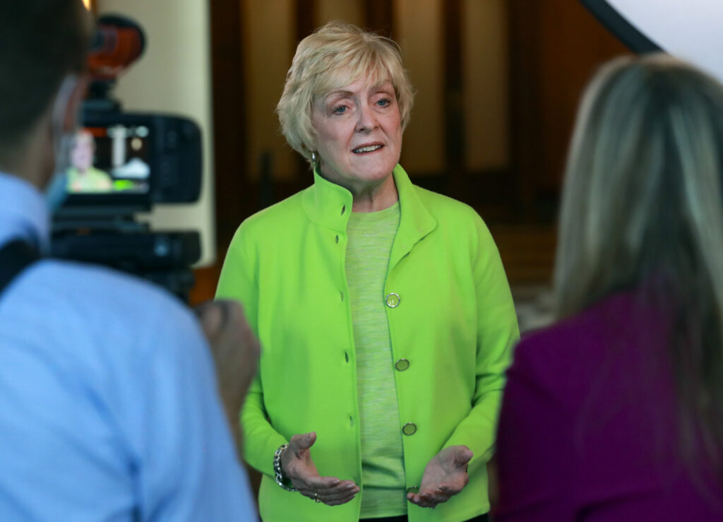 """Heidi Swinton, historian for the Tabernacle Choir at Temple Square, talks with members of the media about Saturday's 90th anniversary celebratory broadcast of """"Music and the Spoken Word"""" during a press conference at The Church of Jesus Christ of Latter-day Saints' Conference Center in Salt Lake City on Friday, July 17, 2020."""