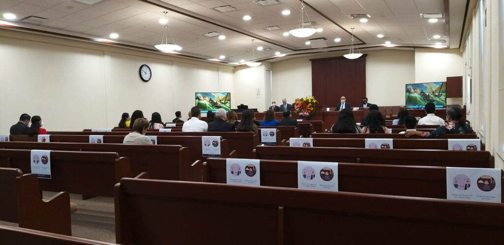 In-person attendees for stake conference in the Oaxaca Mexico Amapolas Stake are spread out for the February 2021 session, which was also streamed online.
