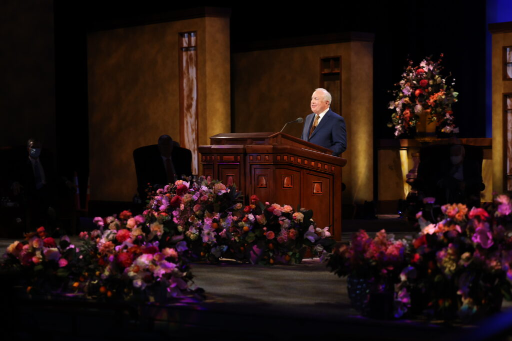 Elder Timothy J. Dyches, a General Authority Seventy, speaks during the Sunday afternoon session of the 191st Annual General Conference of The Church of Jesus Christ of Latter-day Saints on April 4, 2021.