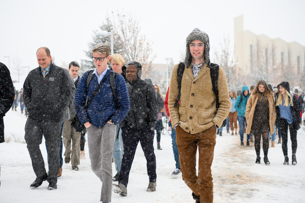 Students make their way to a devotional at the BYU–Idaho Center in Rexburg, Idaho, on Jan. 28, 2020.