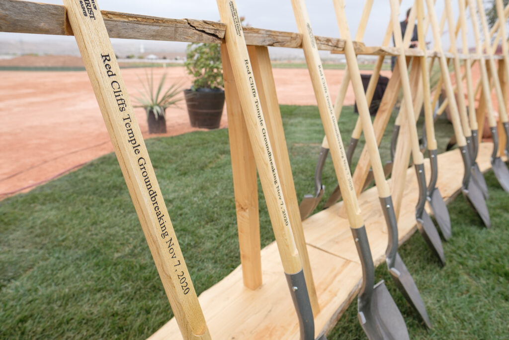 Shovels are lined up at the site of the Red Cliffs Utah Temple of The Church of Jesus Christ of Latter-day Saints following the groundbreaking service for the temple in St. George, Utah, Saturday, November 7, 2020.