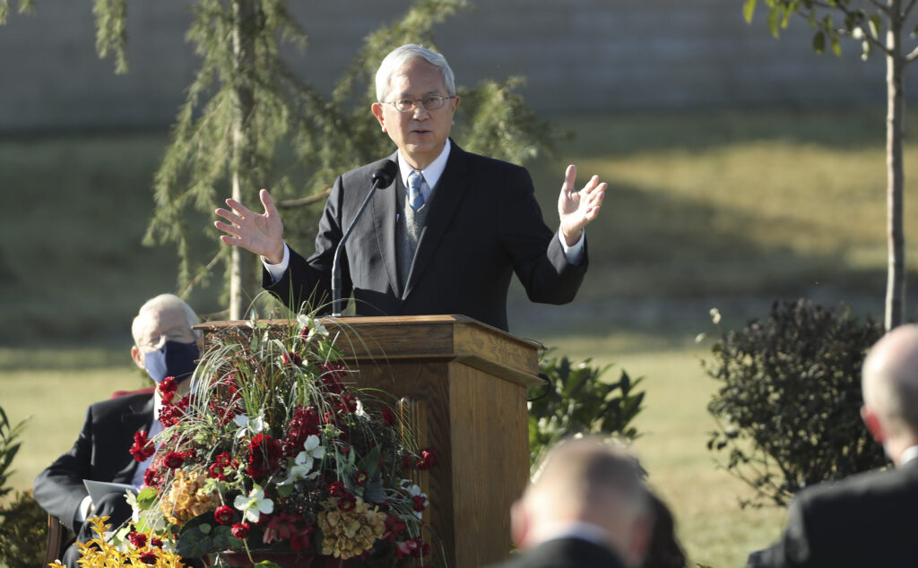 Elder Gerrit W. Gong, a member of the of the Quorum of the Twelve Apostles of The Church of Jesus Christ of Latter-day Saints, speaks during a groundbreaking ceremony for the Taylorsville Utah Temple in Taylorsville on Saturday, Oct. 31, 2020.