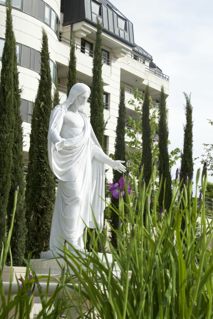 The grounds of the newly completed Paris France Temple include a French garden with a Christus statue. The temple will be dedicated May 21 by President Henry B. Eyring, first counselor in the First Presidency.