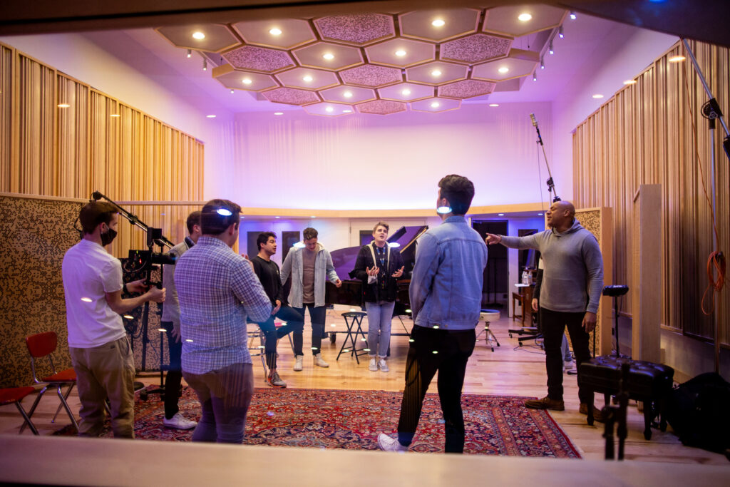 Brian Courtney Wilson sings with BYU Vocal Point at June Audio Recording Studios in Provo on Saturday, Feb. 20, 2021.