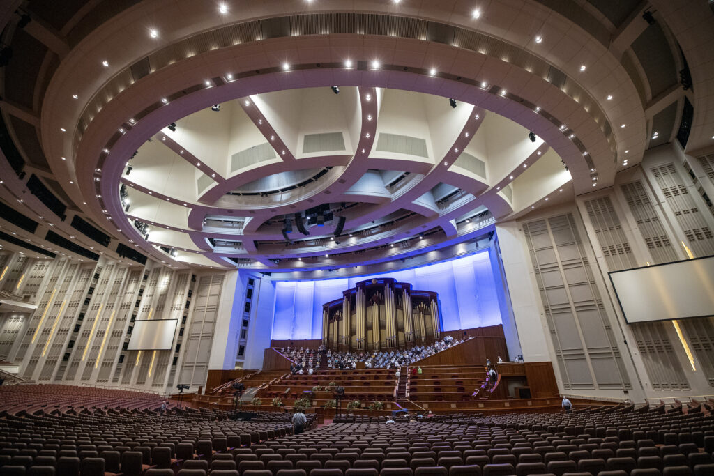 The Tabernacle Choir at Temple Square rehearses at the Conference Center in Salt Lake City on Tuesday, Sept. 21, 2021. It was the choir's first rehearsal in more than 18 months.