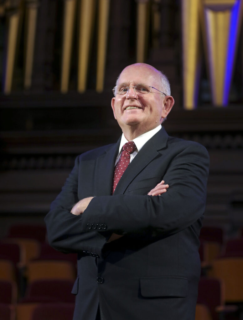 Mack Wilberg, music director of TheTabernacle Choir at Temple Square, poses for a portrait at the Tabernacle in Salt Lake City on Wednesday, Jan. 27, 2021.