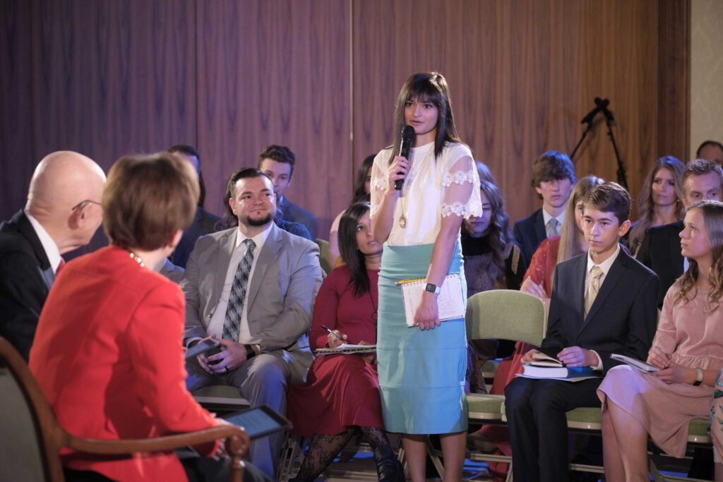 Young adults at the Face to Face event discuss the new Children and Youth program with President Dallin H. Oaks of the First Presidency and Sister Kristen Oaks that was broadcast on Sunday, Feb. 23, 2020.
