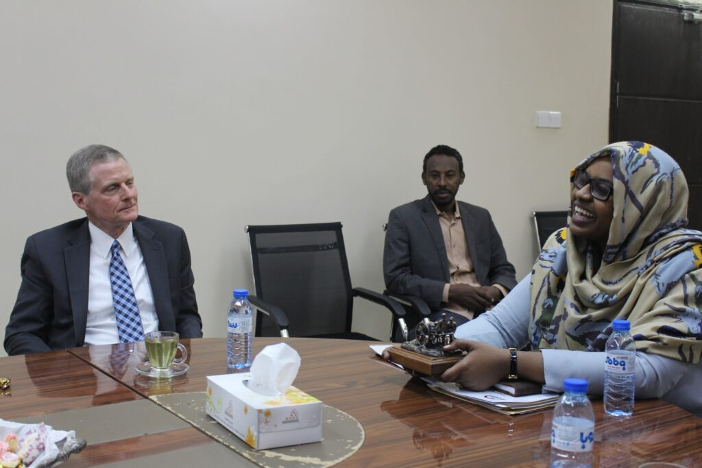 Elder David A. Bednar meets with the Sudanese Minister of Labor and Social Development, Lina Al-Sheikh Omer Mahjoub, in Khartoum, Sudan, in February 2020.