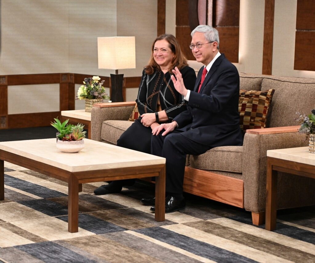 Elder Gerrit W. Gong of the Quorum of the Twelve Apostles and his wife, Sister Susan Gong, speak to young Latter-day Saints during a Worldwide Devotional broadcast from Temple Square on Sunday, Jan. 11, 2020.