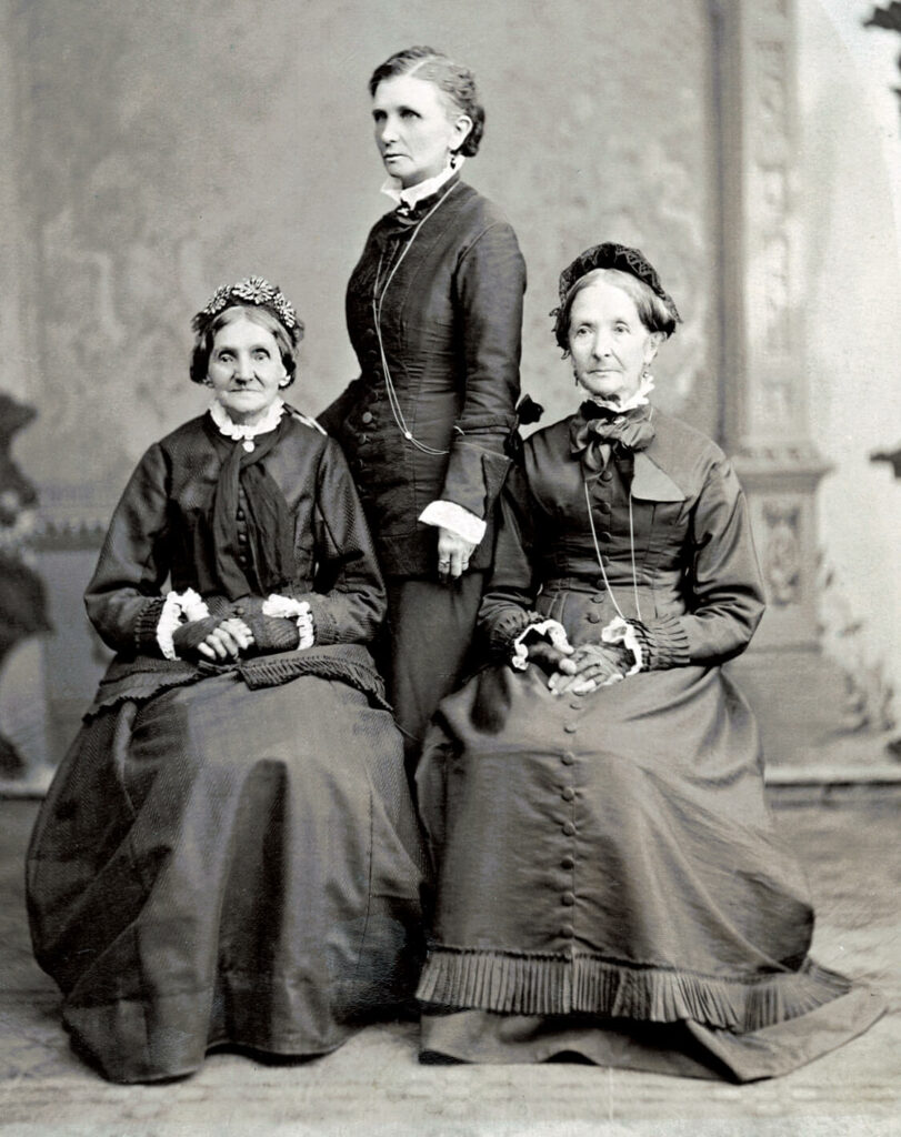 Left to right: Elizabeth Ann Whitney, Emmeline B. Wells, and Eliza R. Snow. Photograph by Charles R. Savage.