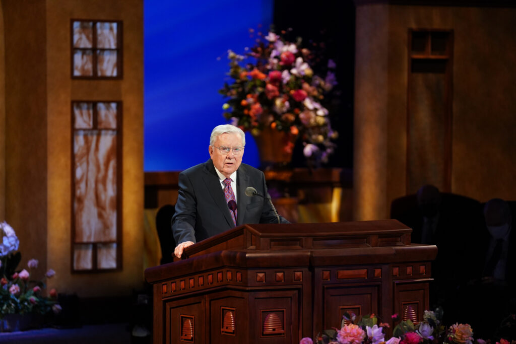 President M. Russell Ballard, acting president of the Quorum of the Twelve Apostles, speaks during the Saturday afternoon session of The Church of Jesus Christ of Latter-day Saints' 191st Annual General Conference in Salt Lake City April 3, 2021.