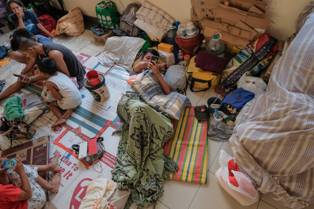 Evacuees from Lemery City and other areas surrounding the Taal Lake continue to take refuge in the Batangas Philippines Stake Center on Feb. 6, 2020.