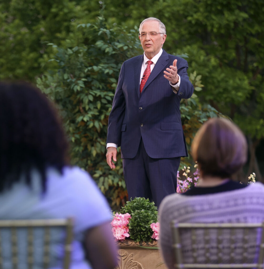 Elder Neil L. Andersen, of the Quorum of the Twelve Apostles, speaks during the filming of a Face to Face event for single adults age 31 and older on the Logan Utah Temple grounds in Logan on Monday, June 7, 2021.