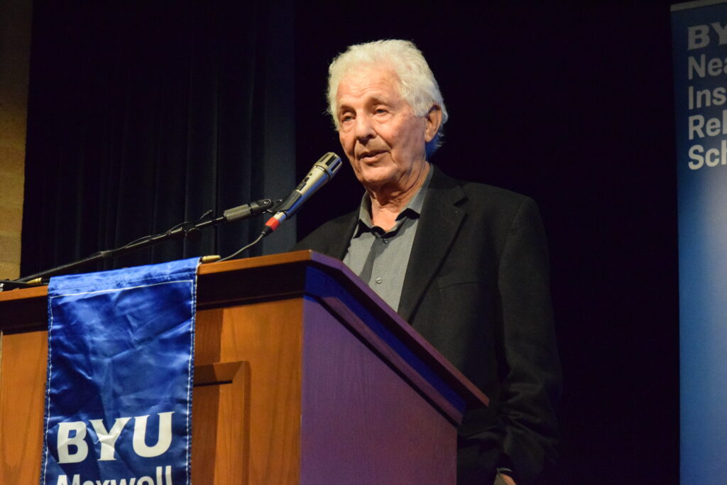 Robert Alter, professor of the graduate school and emeritus professor of Hebrew and comparative literature at the University of California at Berkeley, speaks during a BYU Maxwell Institute guest lecture on Jan. 29, 2020, in Provo, Utah, about the challenge of translating the Hebrew Bible
