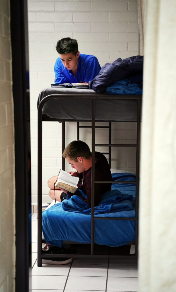 Missionaries study before going to bed at the Mexico Missionary Training Center of The Church of Jesus Christ of Latter-day Saints on Saturday, Jan. 25, 2020. At top is Elder Hunter Clark Thorstenson of Provo, Utah; below is Elder Zachary Taylor Davis of South Jordan, Utah.