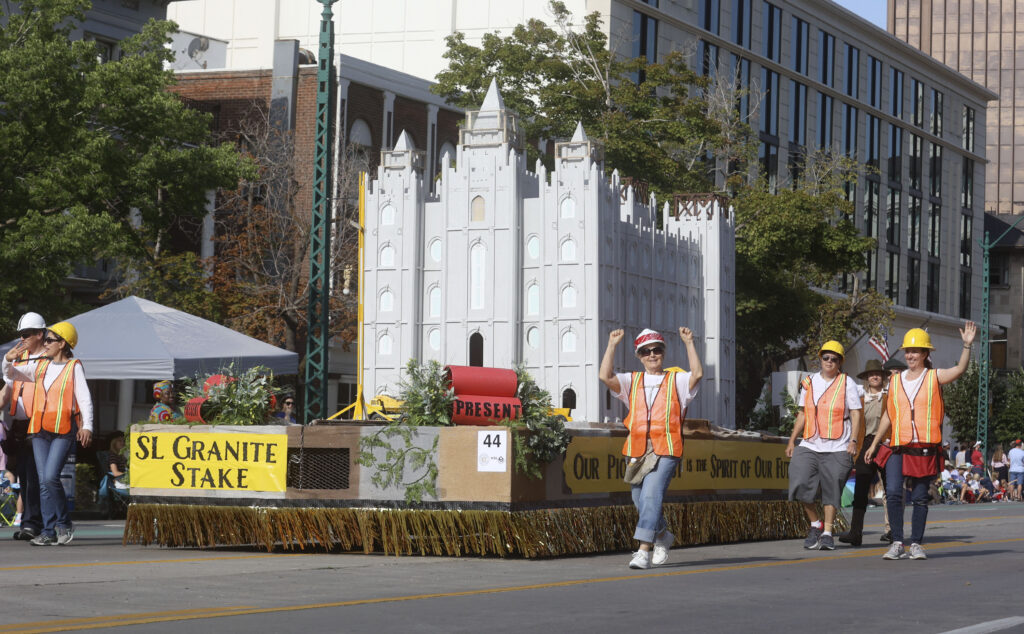 The Salt Lake Granite Stake float makes its way along the Days of '47 Parade route in Salt Lake City on Friday, July 23, 2021. The float won the Spirit of Faith Award for best depiction of a religious theme.