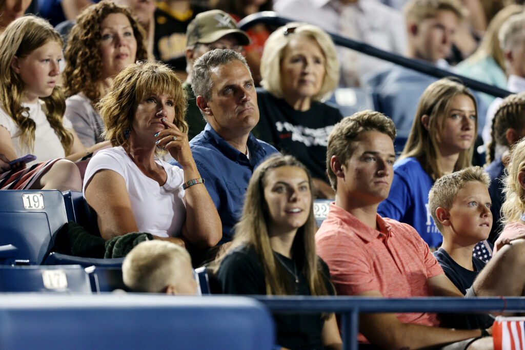 Crowd members listen as Elder Tad R. Callister, emeritus General Authority of The Church of Jesus Christ of Latter-day Saints, speaks during the Freedom Festival Patriotic Service at LaVell Edwards Stadium in Provo on Sunday, July 4, 2021.