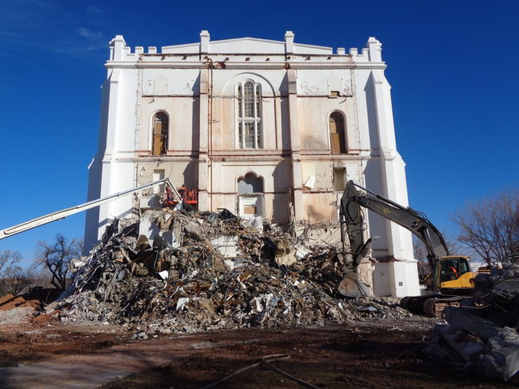 The exterior window of the St. George Utah Temple is uncovered January 20, 2020 after more than 40 years during removal of the 1970's-era west addition that housed an elevator and utilities. A newly constructed addition will closely match the original architecture and will include updated elevator and utility systems in St. George Utah.
