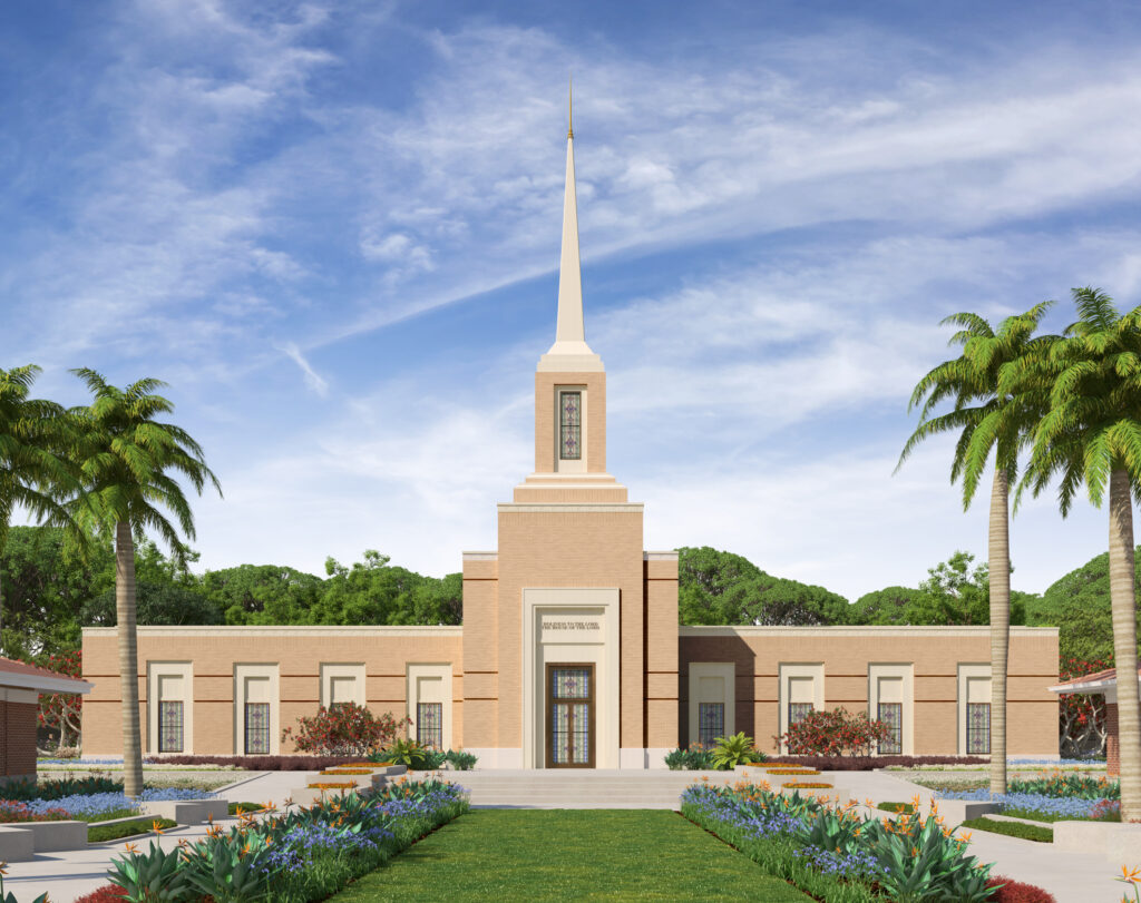 Exterior rendering of the Harare Zimbabwe Temple
