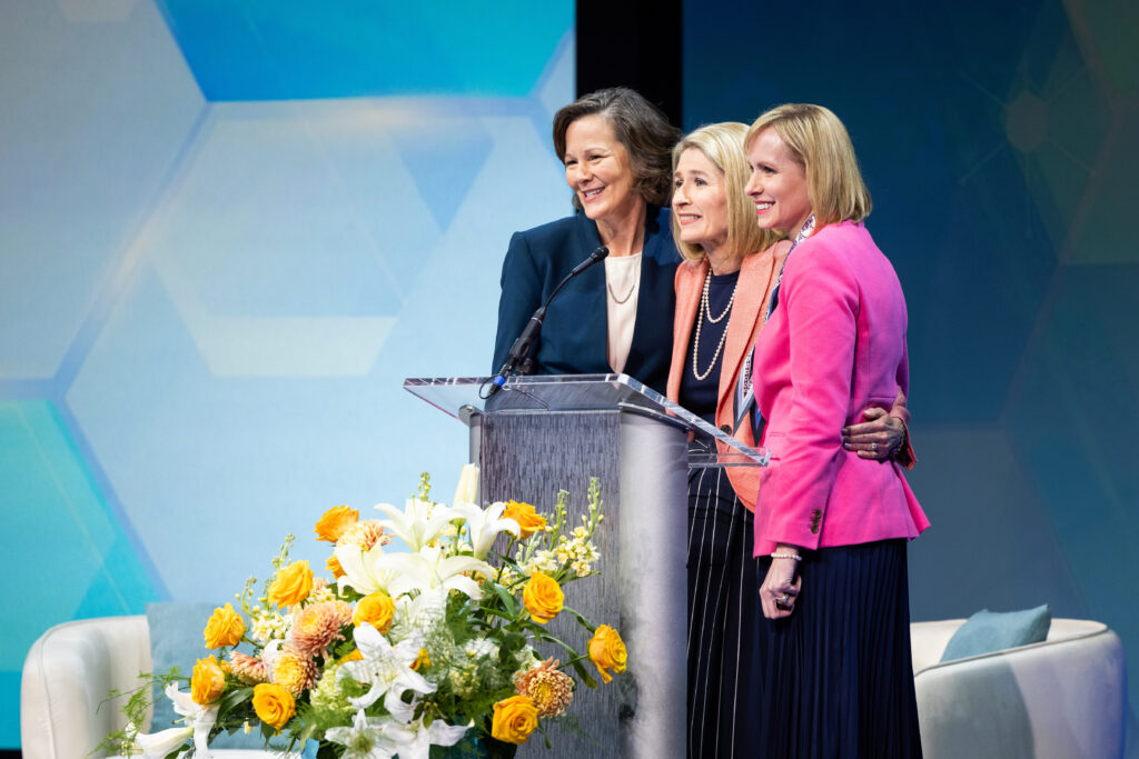 The new Primary general presidency, President Camille N. Johnson, center, and her counselors, Sister Susan H. Porter, left, and Sister Amy A. Wright, right, speak during BYU Women's Conference on Thursday, April 29, 2021. They were sustained during the April 2021 general conference.