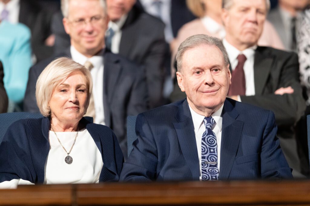 Elder Terence M. Vinson of the Presidency of the Seventy sits on the stand with his wife, Sister Kay Vinson, prior to him speaking at a BYU campus devotional in the Marriott Center in Provo, Utah, on Feb. 11, 2020.