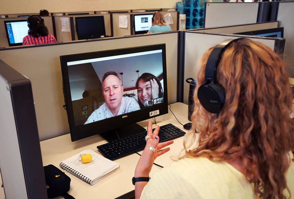 Sister Danielle Orr, from South Jordan, Utah video chats with her parents, Lance and Tara Orr, at the Mexico Missionary Training Center of The Church of Jesus Christ of Latter-day Saints on Friday, Jan. 24, 2020.