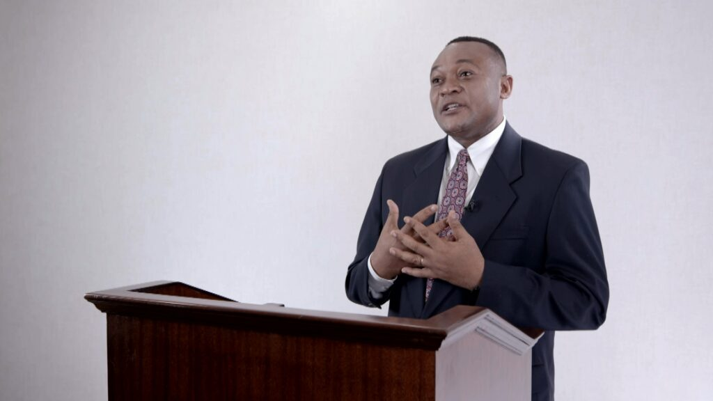 Elder Thierry K. Mutombo, General Authority Seventy, speaks during the Saturday afternoon session of the 191st Annual General Conference on April 3, 2021.