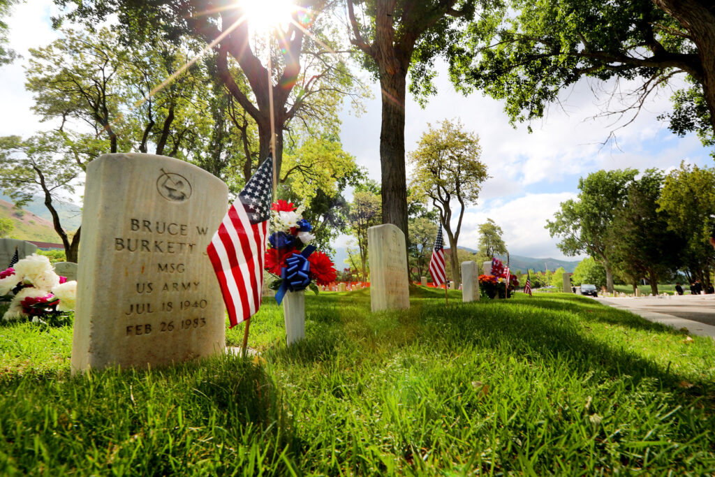 The Utah chapter of the Association of the United States Army conducts its annual Memorial Day service at Fort Douglas Military Cemetery on Monday, May 28, 2018.