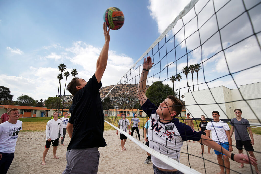Missionaries play volleyball during physical activity time at the Mexico Missionary Training Center of The Church of Jesus Christ of Latter-day Saints on Saturday, Jan. 25, 2020.