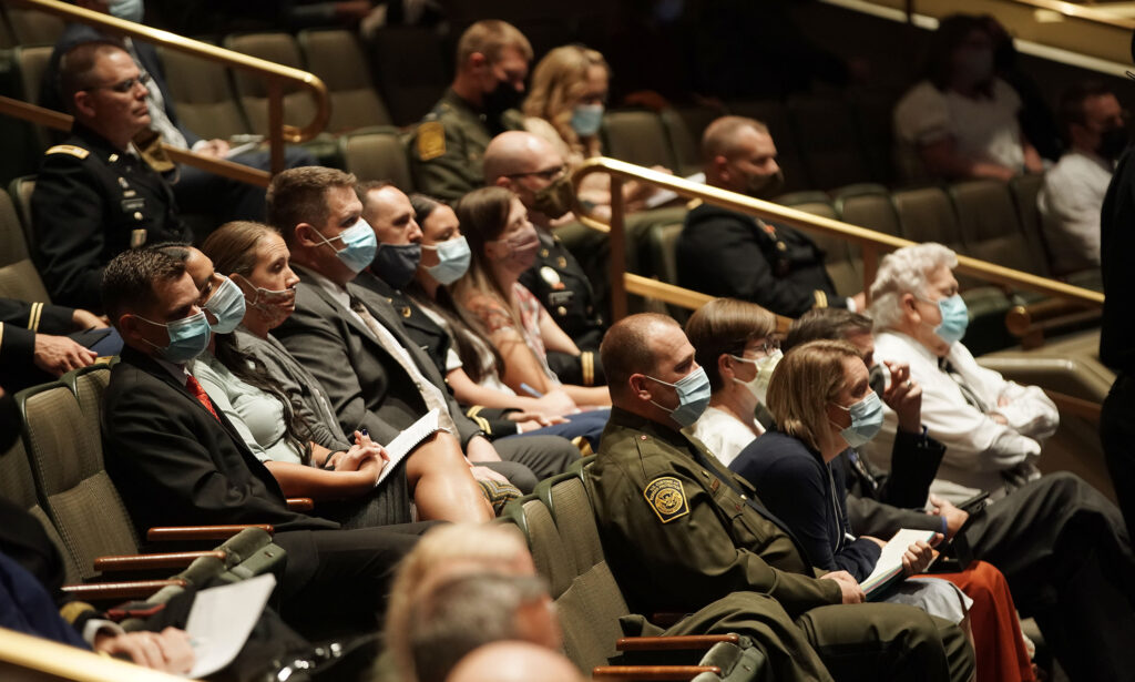 Attendees listen during the Church's annual chaplains seminar at the Conference Center Theater in Salt Lake City on Tuesday, Oct. 5, 2021.