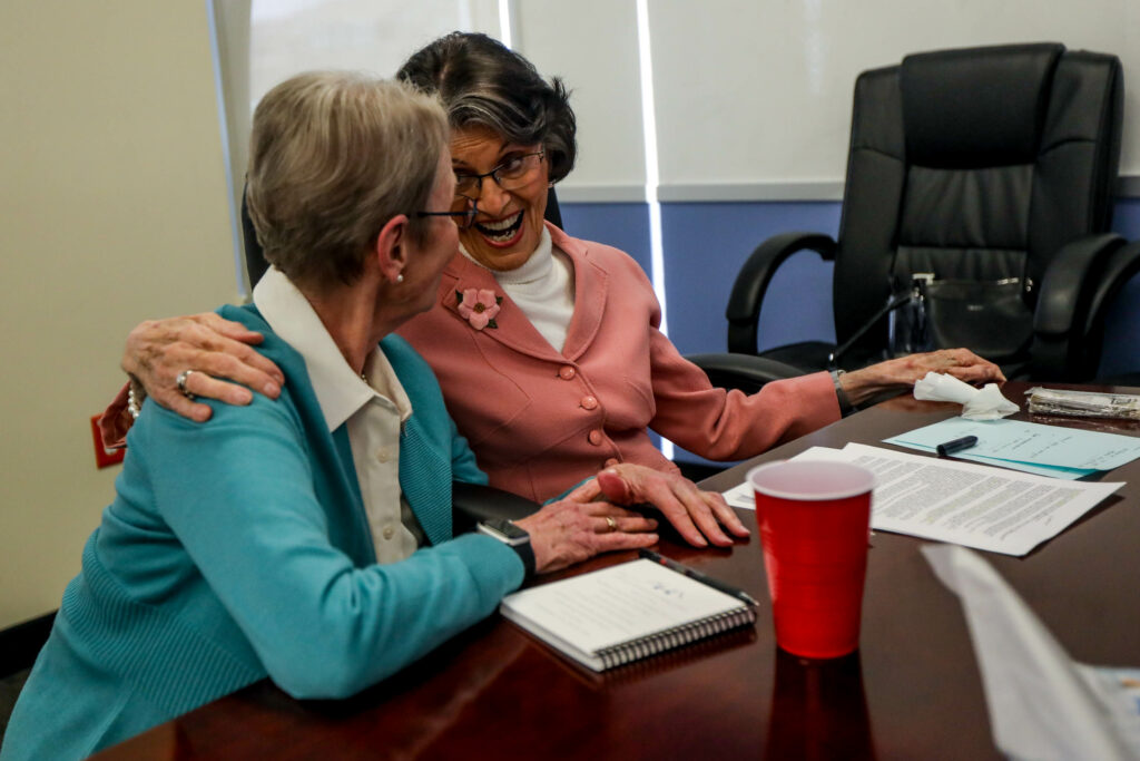 Carolyn Rasmus, left, sits with Ardeth Kapp, right, during a Zoom call to celebrate Kapp's 90th birthday at Thanksgiving Point on Sunday, March 21, 2021. There where four rounds of calls to allow adequate talking time for friends and family.