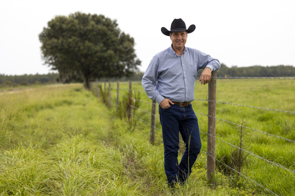 Clint Richardson, general manager of Deseret Ranches, poses for a photo while on the ranch in St. Cloud, Florida, on Tuesday, Aug. 24, 2021.