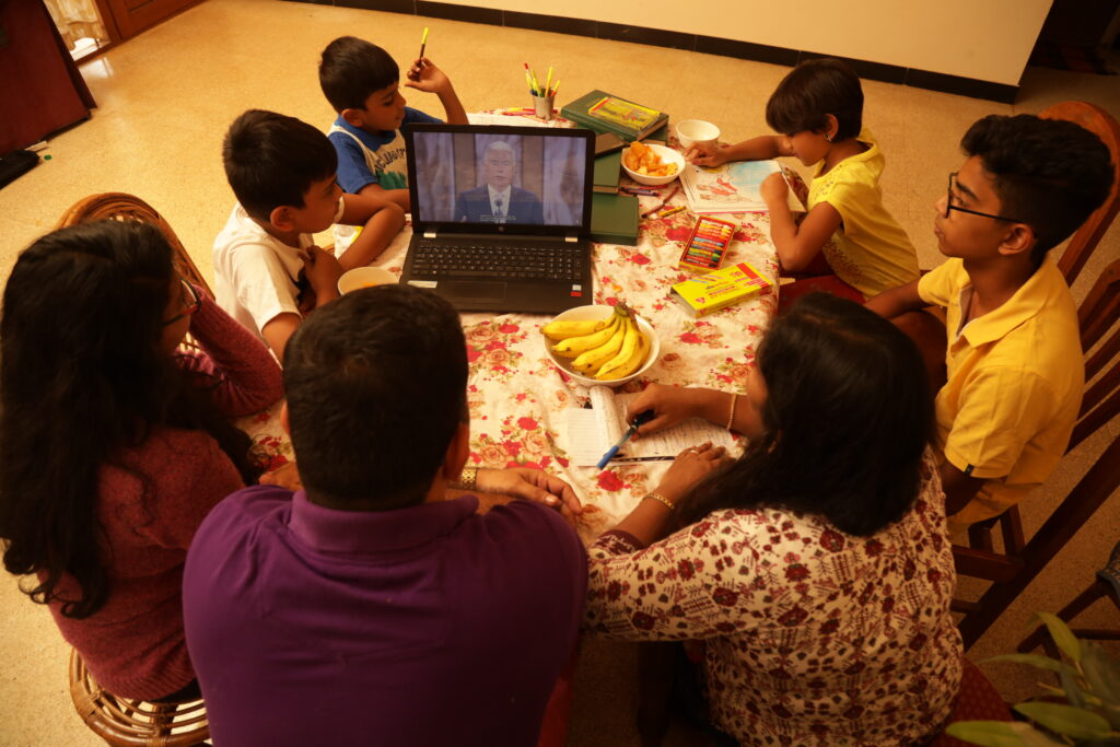A family in Coimbatore, India, participates in a session of The Church of Jesus Christ of Latter-day Saints'191st Annual General Conference, broadcast on Saturday, April 3, and Sunday, April 4, 2021.