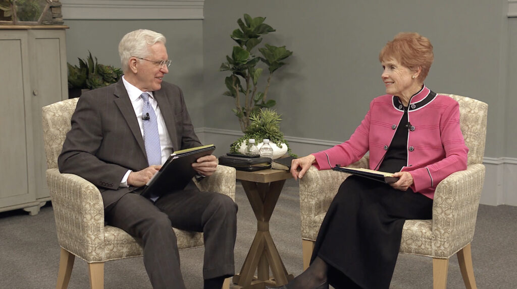 Elder D. Todd Christofferson of the Quorum of the Twelve Apostles speaks with his wife, Sister Kathy Christofferson, during a worldwide missionary devotional. Shared with full-time missionaries, the devotional was taped in Salt Lake City at headquarters of The Church of Jesus Christ of Latter-day Saints and streamed on Nov. 26, 2020.