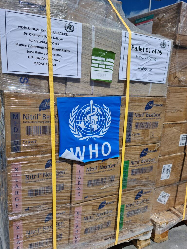 "Medical supplies to protect against COVID-19 are unloaded in Antananarivo, Madagascar, from a UN ""Solidarity Flight"" from the WFP Humanitarian Air Hub in Addis Ababa on April 15, 2020."