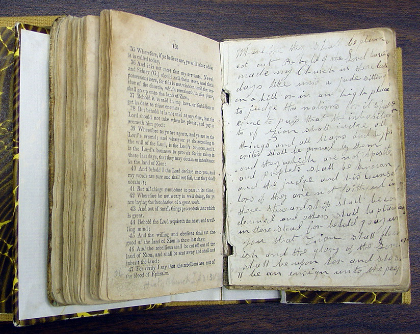 Wilford Woodruff's copy of the 1833 Book of Commandments. While living in Jackson County, Missouri, in 1833, Mary Elizabeth Rollins and her sister Caroline helped save pages of the Book of Commandments by gathering pages and hiding in a nearby cornfield.