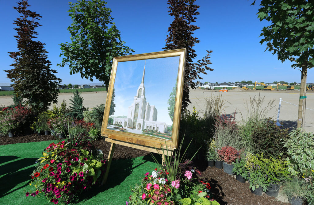 An exterior rendering of the Syracuse Utah Temple of The Church of Jesus Christ of Latter-day Saints is on display during the temple's groundbreaking ceremony in Syracuse on Saturday, June 12, 2021.