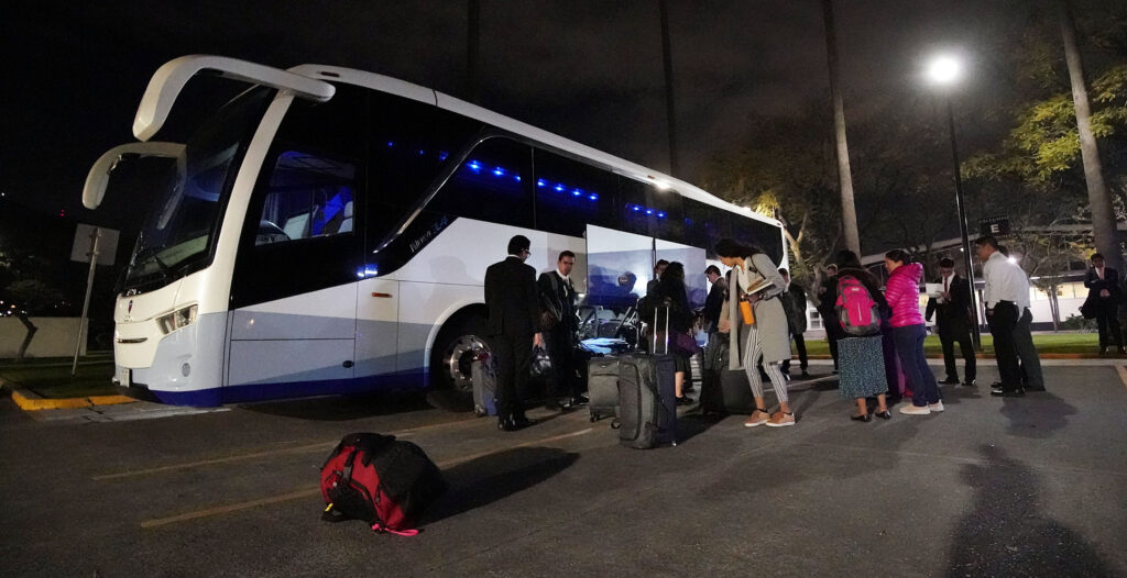 Missionaries load their luggage onto a bus as they leave the Mexico Missionary Training Center of The Church of Jesus Christ of Latter-day Saints on Monday, Jan. 27, 2020. Following their training at the MTC, they go out to preach the gospel in various parts of the world.