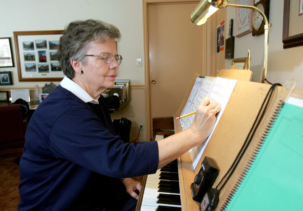 Janice Kapp Perry, a well known Latter-day Saint songwriter, writes some of her music at the piano but most is written from a chair in the same room as this piano. Photo taken on Nov. 18, 2004.
