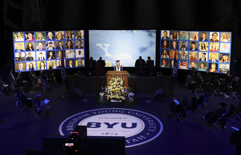 Alyssa M. Baer addresses the class of 2021 during BYU's graduation ceremony at the Marriott Center in Provo on Thursday, April 22, 2021. Due to COVID-19, the graduation ceremony was broadcast and held virtually.