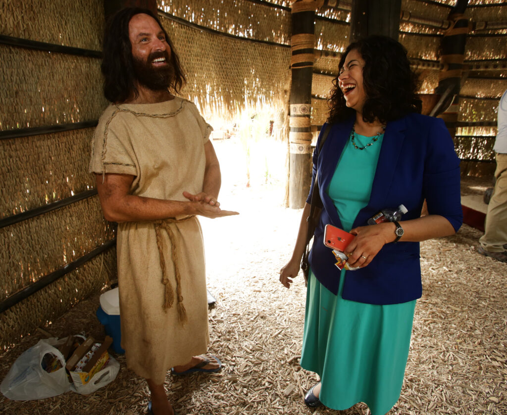 Ryan Wood, who plays the part of Abinadi, talks with Sister Reyna I. Aburto second counselor in the Relief Society general presidency of The Church of Jesus Christ of Latter-day Saints, as production of the Book of Mormon video series continues in Provo, Utah, at the LDS Motion Picture Studio on Tuesday, Sept. 3, 2019.