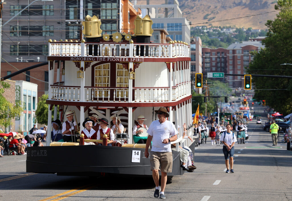 The Draper Utah Stake float moves down 200 East during the Days of '47 Parade in Salt Lake City on Friday, July 23, 2021. The float won both the People's Choice Award and Children's Choice Award.
