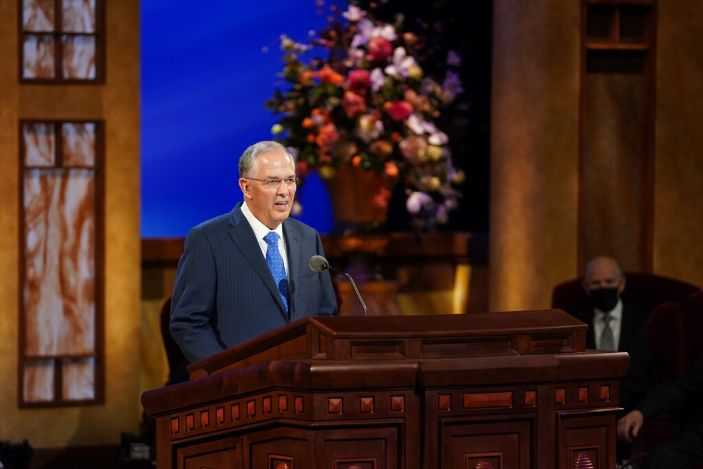 Elder Neil L. Andersen of the Quorum of the Twelve Apostles speaks during the Saturday afternoon session of the 191st Annual General Conference on April 3, 2021.