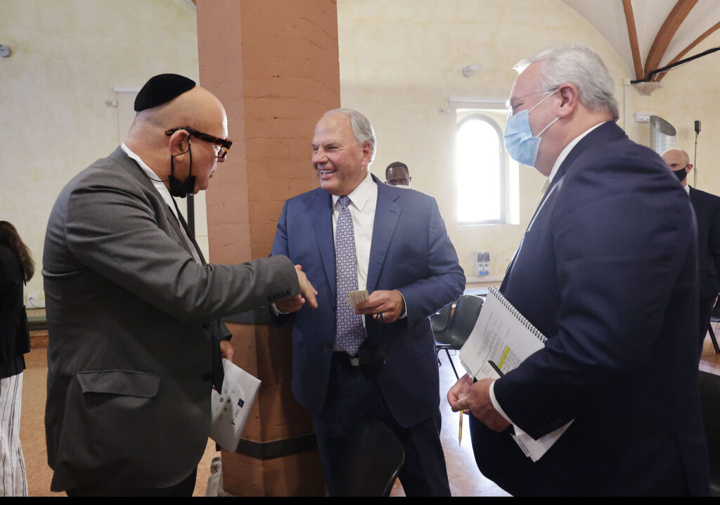 Elder Ronald A. Rasband, of The Church of Jesus Christ of Latter-day Saints' Quorum of the Twelve Apostles, and Elder Jack N. Gerard of the Seventy, talk with Gady Gronich, Conference of European Rabbis Foundation, during the G20 Interfaith Forum in Bologna, Italy on Monday, Sept. 13, 2021.