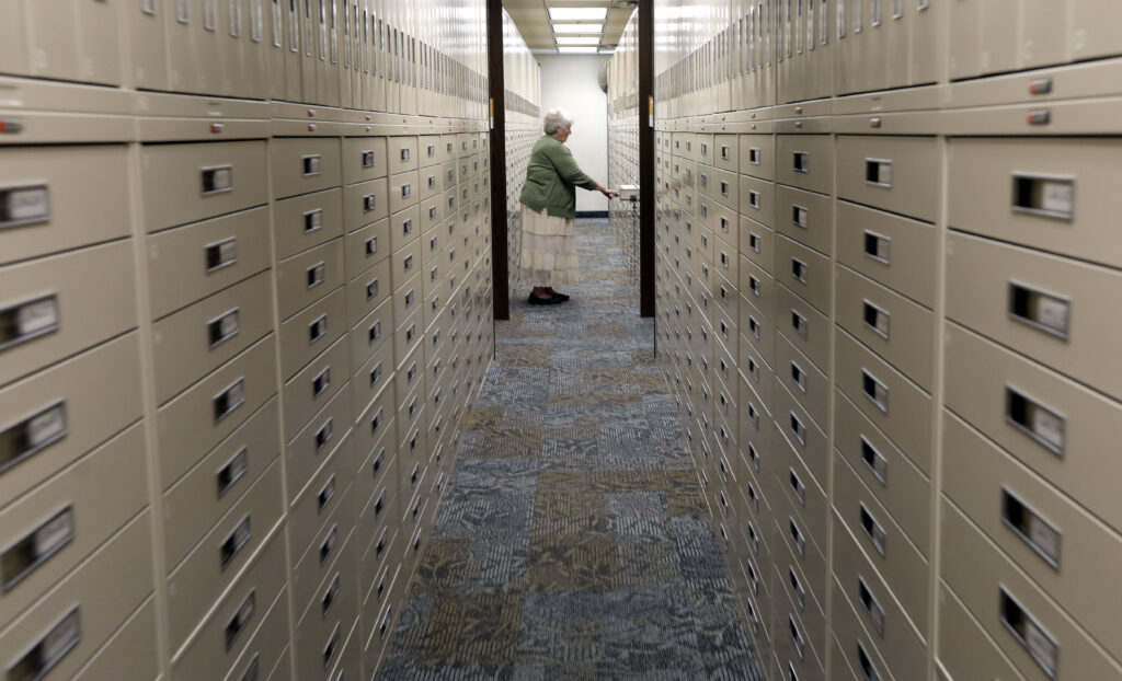 Sister Vivian Shaw works in The Church of Jesus Christ of Latter-day Saints' Family History Library in Salt Lake City on Tuesday, June 29, 2021.