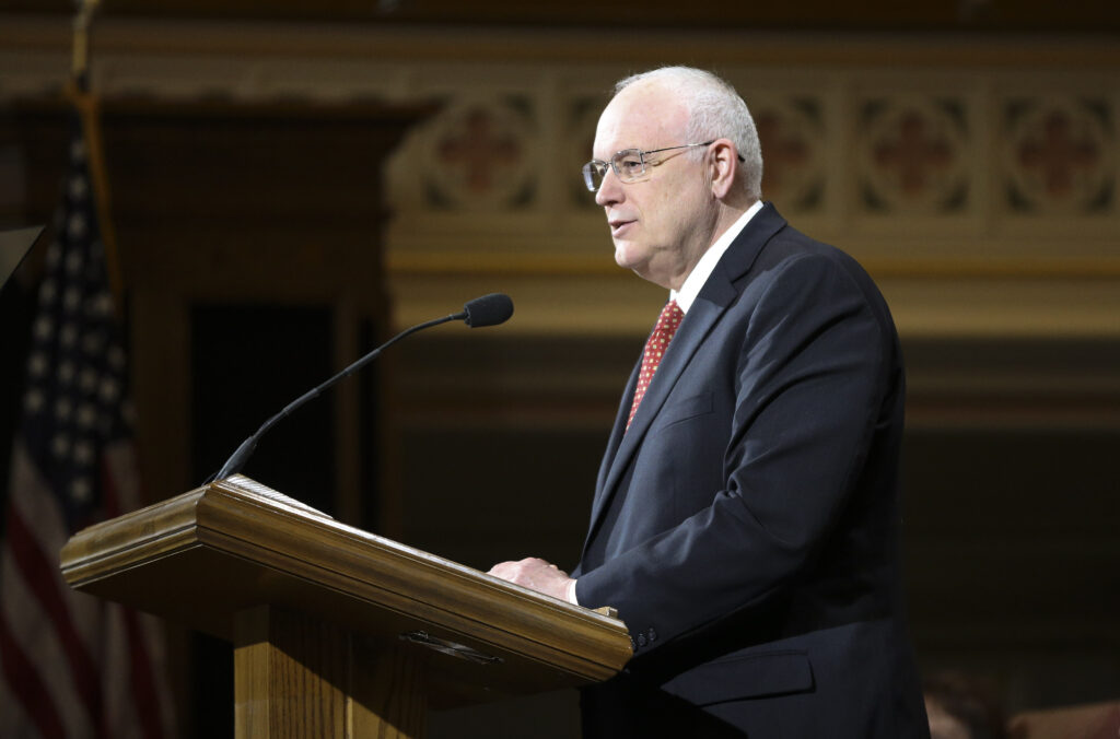 Elder Paul V. Johnson, commissioner of church education for The Church of Jesus Christ of Latter-day Saints, speaks to LDS Business College students about a name change for the school during a devotional at the Assembly Hall on Temple Square in Salt Lake City on Tuesday, Feb. 25, 2020. The new name is Ensign College.